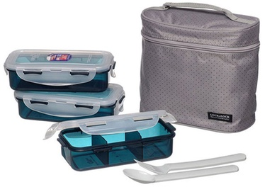 Lock&Lock Lunch Box With 3 Dishes 350ml And Accessories Blue