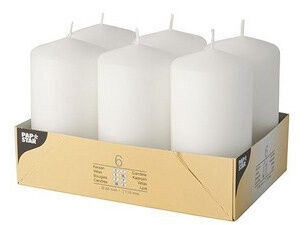 Pap Star Candle Cylinder 11.5cm 6pcs White