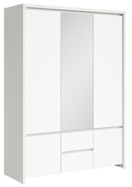 Skapis Black Red White Kaspian Matt White, 153.5x55.5x211 cm, with mirror