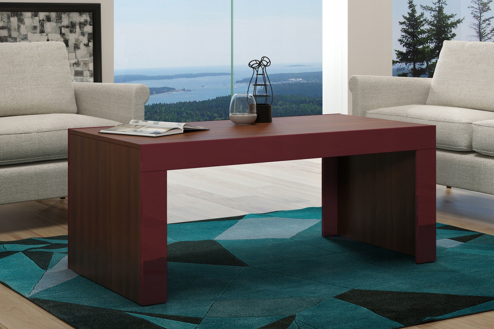 Coffee Table Desk.Pro Meble Coffee Table Milano Walnut Red