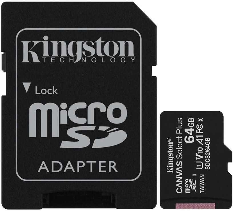 Kingston Canvas Select Plus 64GB microSDHC UHS-I Class 10 Pack Of 2