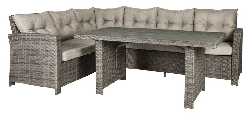 Home4you Pavia Corner Sofa And Table Set Brown