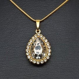 Diamond Sky Pendant Celestial Drop Rose Patina With Swarovski Crystals