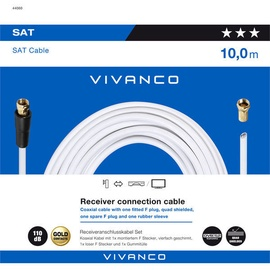 Vivanco Receiver Connection Cable White 10m 44060