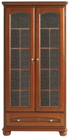 Black Red White Glass-Door Cabinet Bawaria Chestnut/Walnut