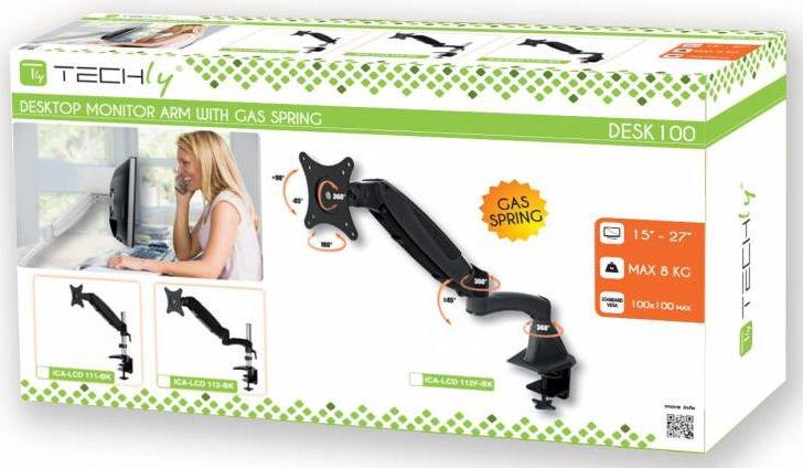 """Televizoriaus laikiklis Techly Desk Monitor Arm With Gas Spring 15-27"""" Glossy Black"""