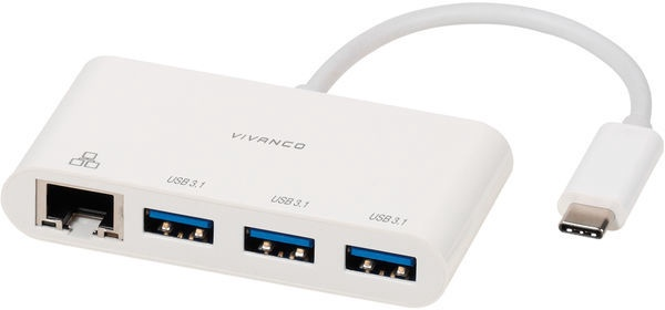 Vivanco USB Type-C Network Adapter/hub White 45388