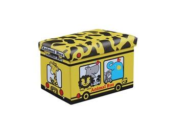 Pufas su daiktadėže Kiri geltonas, 48 x 32 x 32 cm