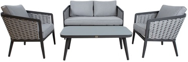 Home4you Marie Table With Sofa And 2 Chairs Gray