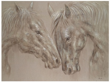 Home4you Linen Oil Painting Horses 60x120cm