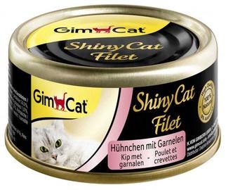 Kačių ėdalas Gimborn ShinyCat su vištiena ir krevetėmis 70g