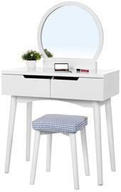 Kosmetinis staliukas Songmics Vasagle URDT11W, baltas, 80x40x128 cm, su veidrodžiu