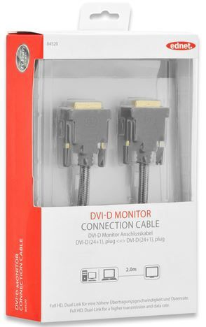 Ednet Cable DVI / DVI Black 2m