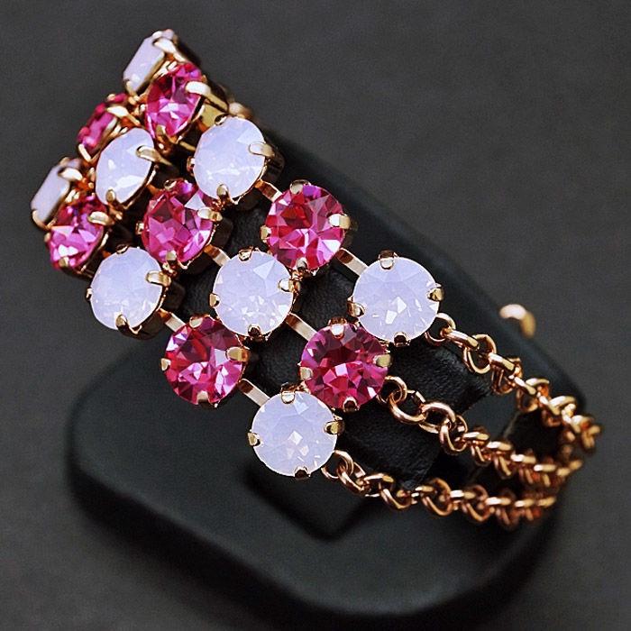 Diamond Sky Bracelet Rainbow II Rose Water Opal With Crystals From Swarovski