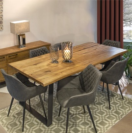 Home4you Dining Room Set Rotterdam 6 Light Brown/Black/Oak