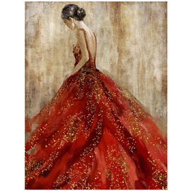 Home4you Silvery Oil Painting 60x80cm Lady In Red