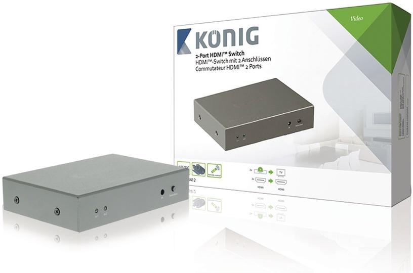 Konig 2-Port HDMI Switch Dark Grey