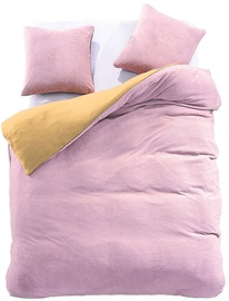 Gultas veļas komplekts DecoKing Furry, dzeltena/rozā, 200x200/80x80 cm