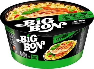 Makaronai indelyje Big Bon, vištienos skonio su salsa padažu, 85 g