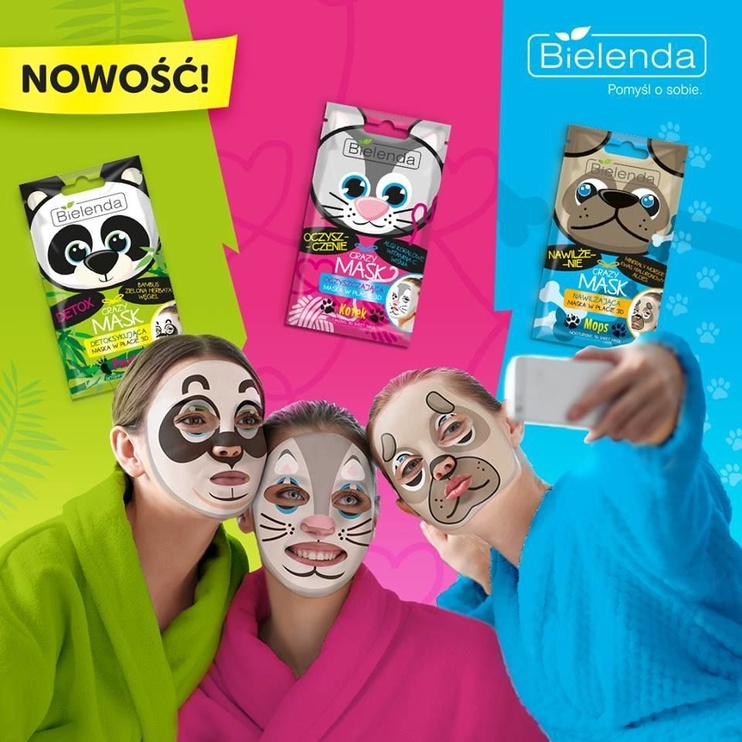 Bielenda Crazy Mask Purifying Sheet Mask Cat 1pcs