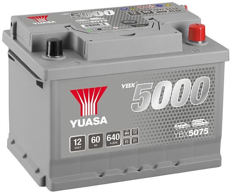 Аккумулятор Yuasa YBX5075, 12 В, 60 Ач, 640 а
