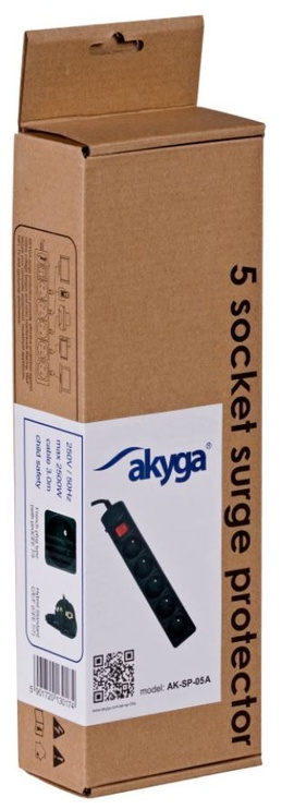 Akyga Surge Protector 5-Outlet 1.8m Black