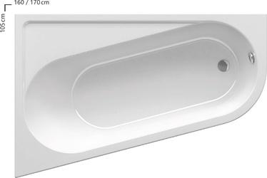 Vonia Ravak Chrome, 160 x 105 cm, dešininė