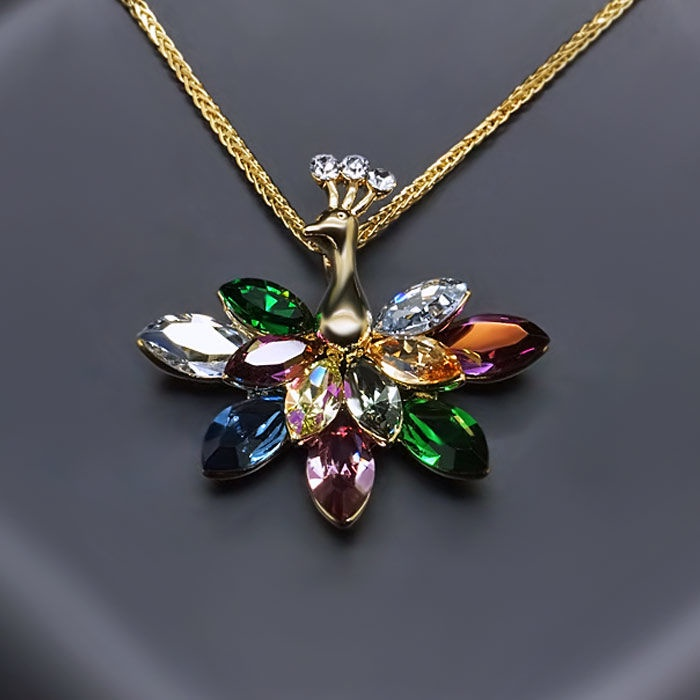 Diamond Sky Pendant Peacock With Swarovski Crystals