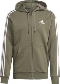 Adidas Essentials Fleece 3 Stripes Full-Zip Hoodie GK9052 Legacy Green S