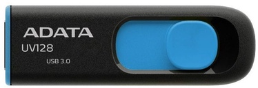 USB atmintinė ADATA UV128 Black/Blue, USB 3.0, 64 GB