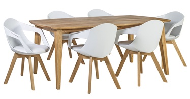 Home4you Retro/Stuart Dining Set White/Oak