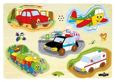 Puzle Woody Educational Cars With Sounds 90331, 5 gab.