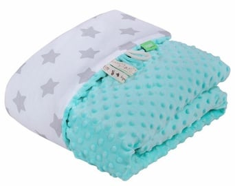Lulando Minky Baby Blanket Mint/White With Stars 100x140cm