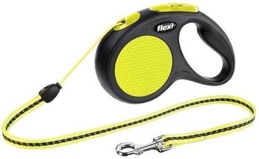 Siksna Flexi New Classic Neon, melna/dzeltena, 5 m