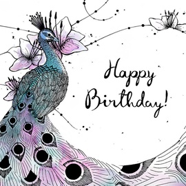 Clear Creations Peacock Birthday Card CL2502