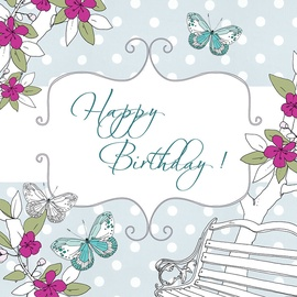 Clear Creations Garden Bench Birthday Card CL1504