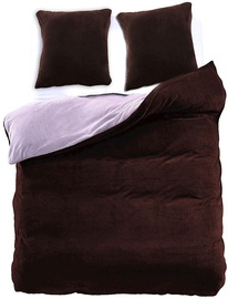 DecoKing Furry 09 Bedding Set Brown/Steel 200x220/80x80 2pcs