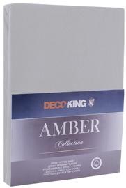 Простыня DecoKing Amber, серый, 180x200 см, на резинке