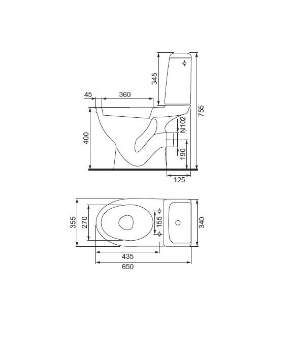 Tualete Cersanit Eko 2000 K07-102-EX1, ar vāku, 355 mm x 650 mm