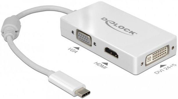 Провод Delock 63924 USB Type-C To VGA / HDMI / DVI Adapter Female White
