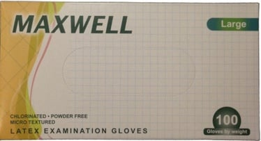 Maxwell Powder Free Latex Examination Gloves L 100pcs