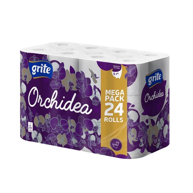"""Tualetes papīrs """"Grite"""" Orchidea, 24. gab., 3 sl."""