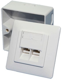Logilink Wall outlet 2 x RJ-45 CAT 6 Mount White