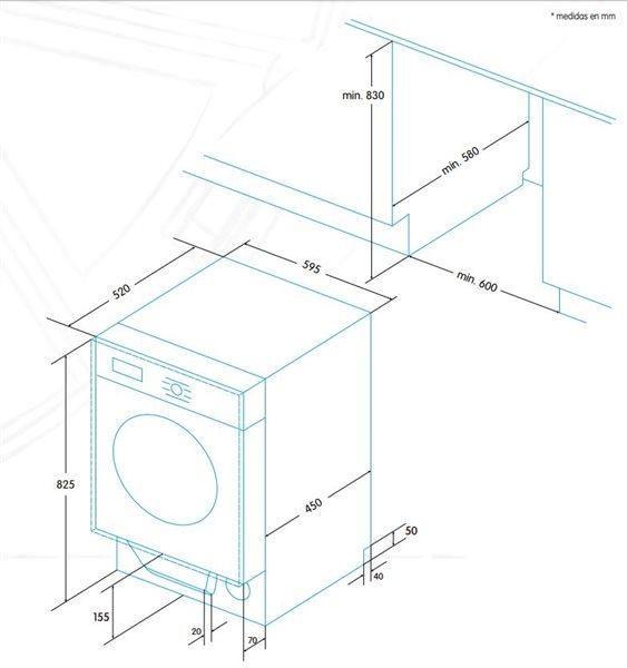 Įmontuojama skalbimo mašina Edesa EWS-1480-I