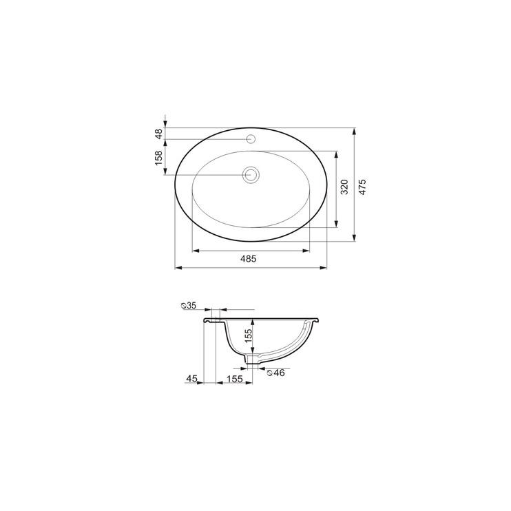Praustuvas įleidžiamas Cersanit Gamma, 63 x 47,5 x 22 cm