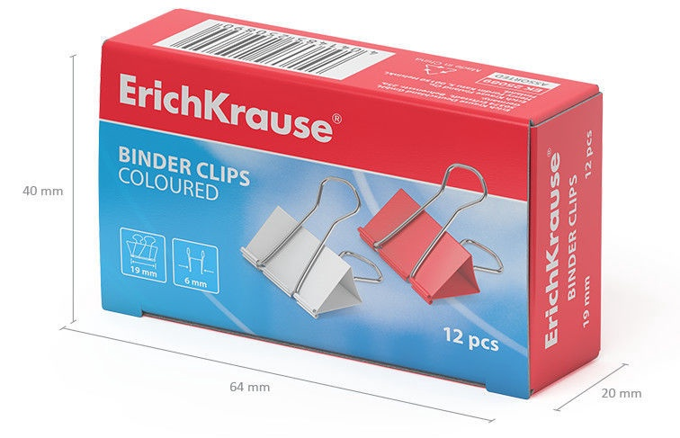 ErichKrause Binder Clips Coloured 19mm 12pcs
