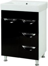 Vannas istabas skapītis Sanservis Laura-60 Como-60 Black, 60x83x45 cm