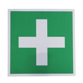 First Aid Sign Sticker 135x135mm Red/White