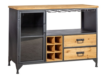 Home4you Ferro Wine Drawer 111x40x80cm Black/Wood