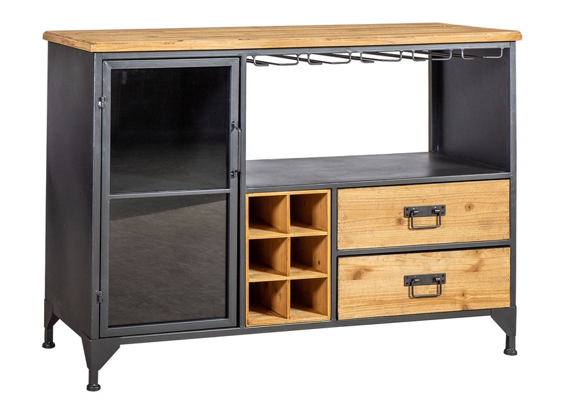Home4you Ferro Wine Drawer 111x40x80cm Black/Wood